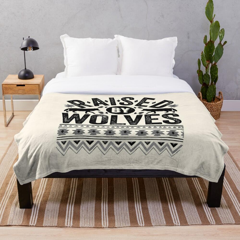 Raised By Wolves {Black + White} Throw Blanket