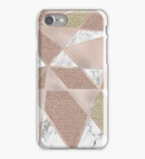 Rose gold marble geo abstract iPhone Case/Skin