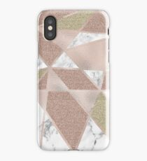 Rose gold marble geo abstract iPhone Case