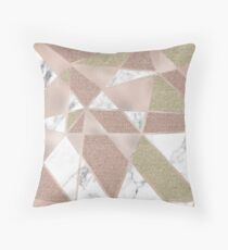Rose gold marble geo abstract Throw Pillow