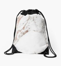 Rose gold vein marble Drawstring Bag