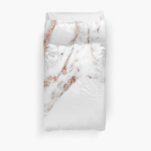 Rose gold vein marble Duvet Cover