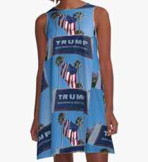 Donald Trump Campaign Sign with Huge USA Flag A-Line Dress
