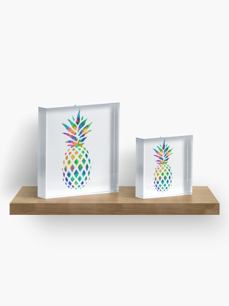 Alternate view of Rainbow Pineapple Acrylic Block