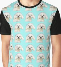 Maltese puppy on blue Graphic T-Shirt