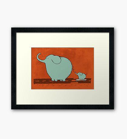 Little Skateboard Elephant Framed Print