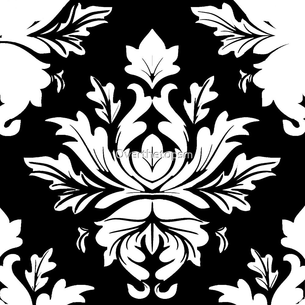 Damask White and Black Bold Medallion Pattern  by Saundra Myles