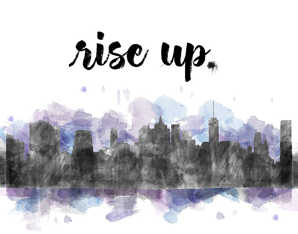 Rise Up Watercolor NYC Skyline by SarahRoses