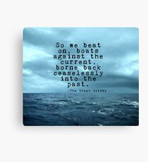 So we beat on - Gatsby quote on the dark ocean Canvas Print