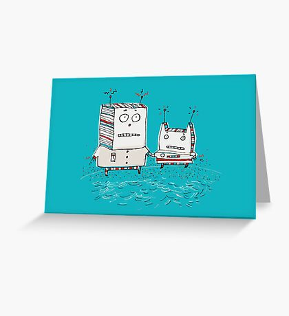 Robots at the Beach  Greeting Card