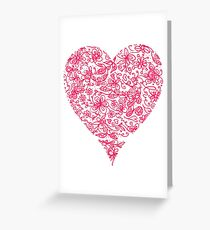 Pink Flower Heart Greeting Card