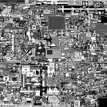 Reddit r/Place 10K resolution Official r/TheFinalClean Cleaned Version – Monochrome by bobbooo