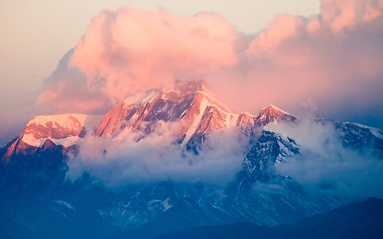 Snow Mountain at Pink Sunset by TravelDream