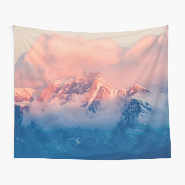 Snow Mountain at Pink Sunset Tapestry