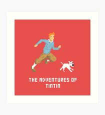 Tintin and Snowy pixel art Art Print