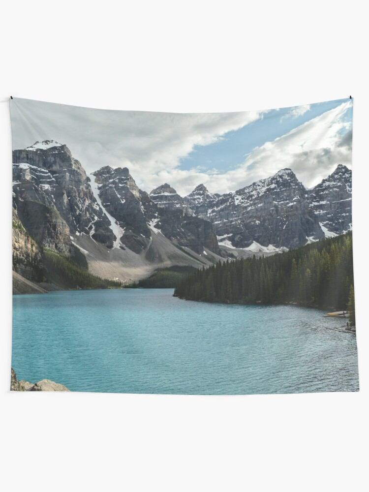 Alternate view of Rocky Mountains Blue Lake National Park Tapestry