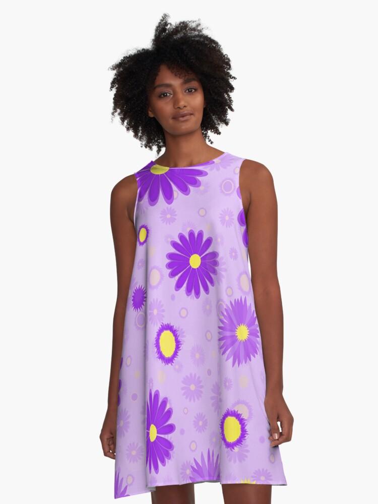 Happy Purple-Yellow Daisy Pattern A-Line Dress Front