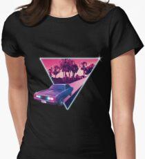 Nighdrifter retro wave car Women's Fitted T-Shirt