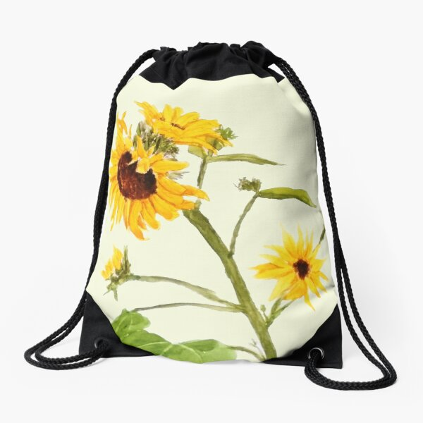 Yellow sunflower watercolor painting  Drawstring Bag