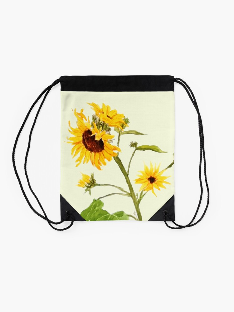 Alternate view of Yellow sunflower watercolor painting  Drawstring Bag