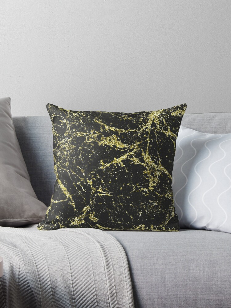 Black Marble Gold Vein Real Marble by naturemagick