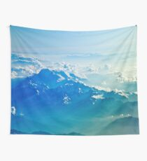 Mountains Aerial View Blue Sky Clouds Wall Tapestry