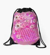 Pink and White Rose Drawstring Bag
