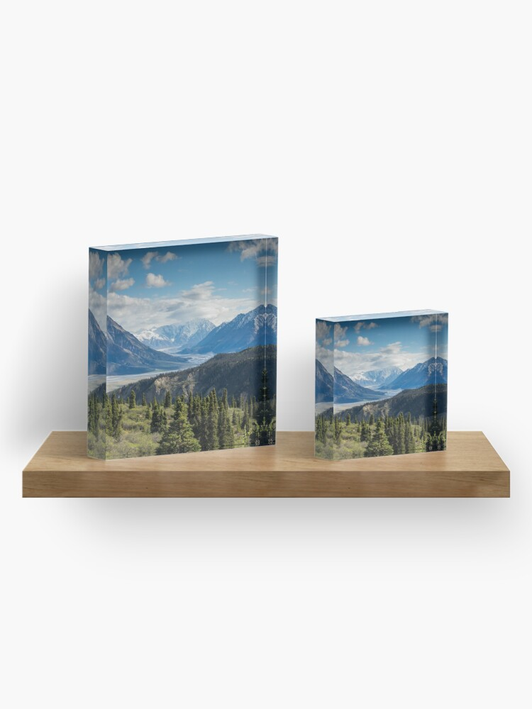 Alternate view of Forest Mountains River National Park Nature Photography Wall Art Acrylic Block