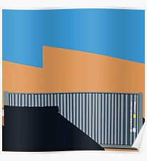 066 Gray shipping container warehouse blue sky Poster