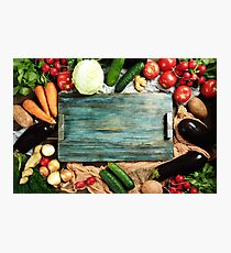Border composition  made with fresh vegetables Photographic Print