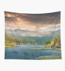 Mountain Lake Trees Panoramic Nature Photography Wall Tapestry