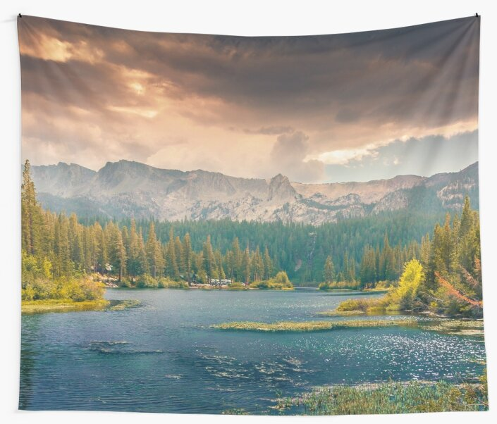 Mountain Lake Trees Panoramic Nature Photography by TravelDream