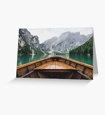 Boat Mountain Lake Greeting Card