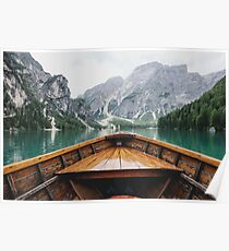 Boat Mountain Lake Poster