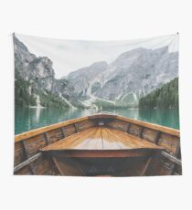 Boat Mountain Lake Wall Tapestry