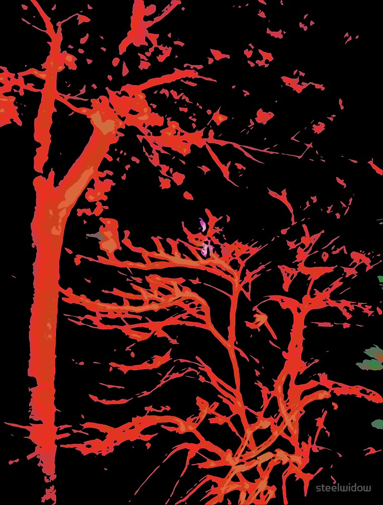 Comic Abstract Red Tree by steelwidow