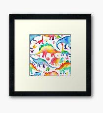 Rainbow Watercolour Dinosaurs Framed Print