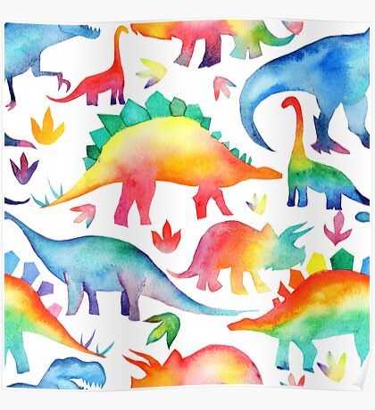 Rainbow Watercolour Dinosaurs Poster