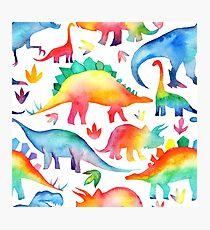 Rainbow Watercolour Dinosaurs Photographic Print
