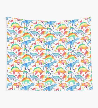 Rainbow Watercolour Dinosaurs Wall Tapestry