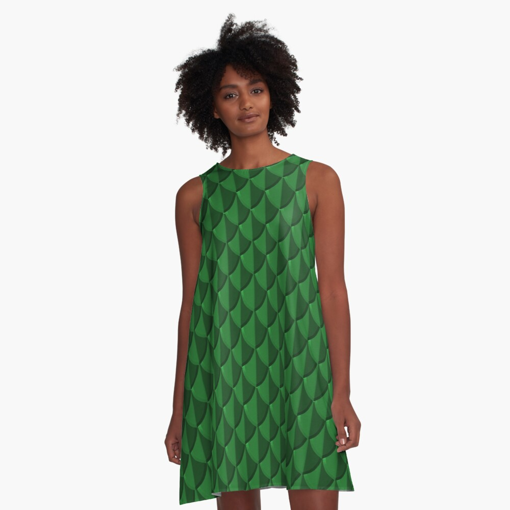 Green Dragon Scales A-Line Dress Front