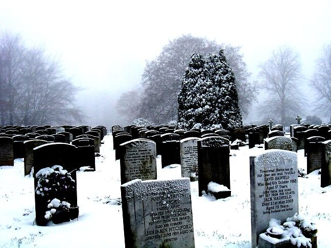 Cemetery Snow by leatherdykeuk