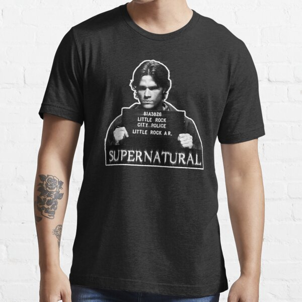 Supernatural Dean Winchester Mug Shot Kid/'s Black Shirts