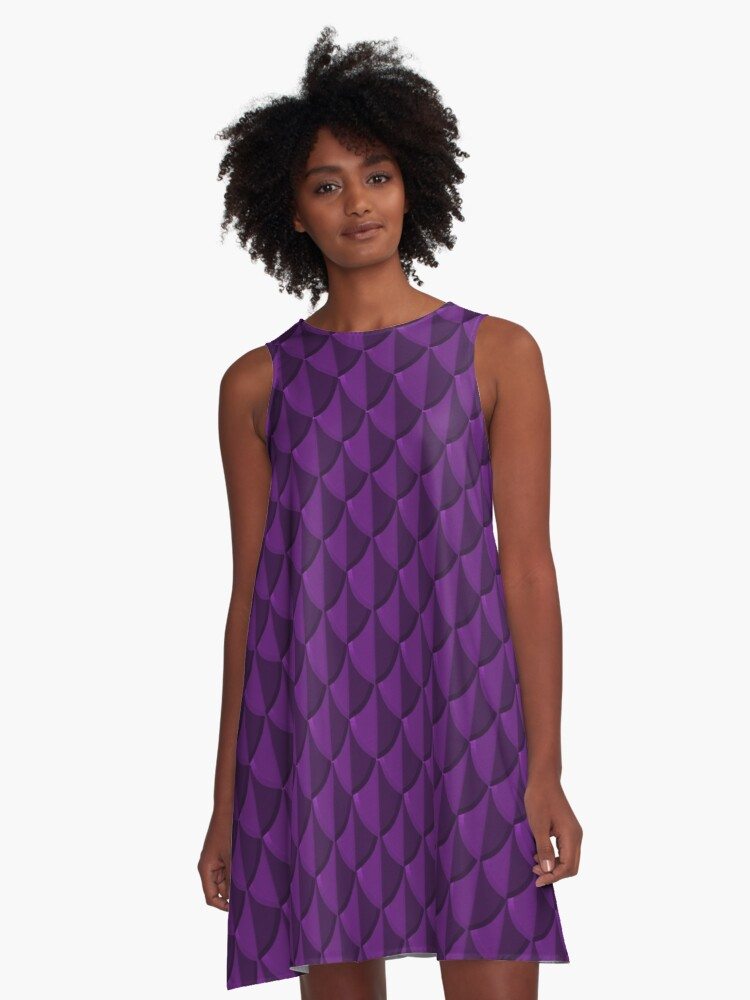 Purple Dragon Scales A-Line Dress Front