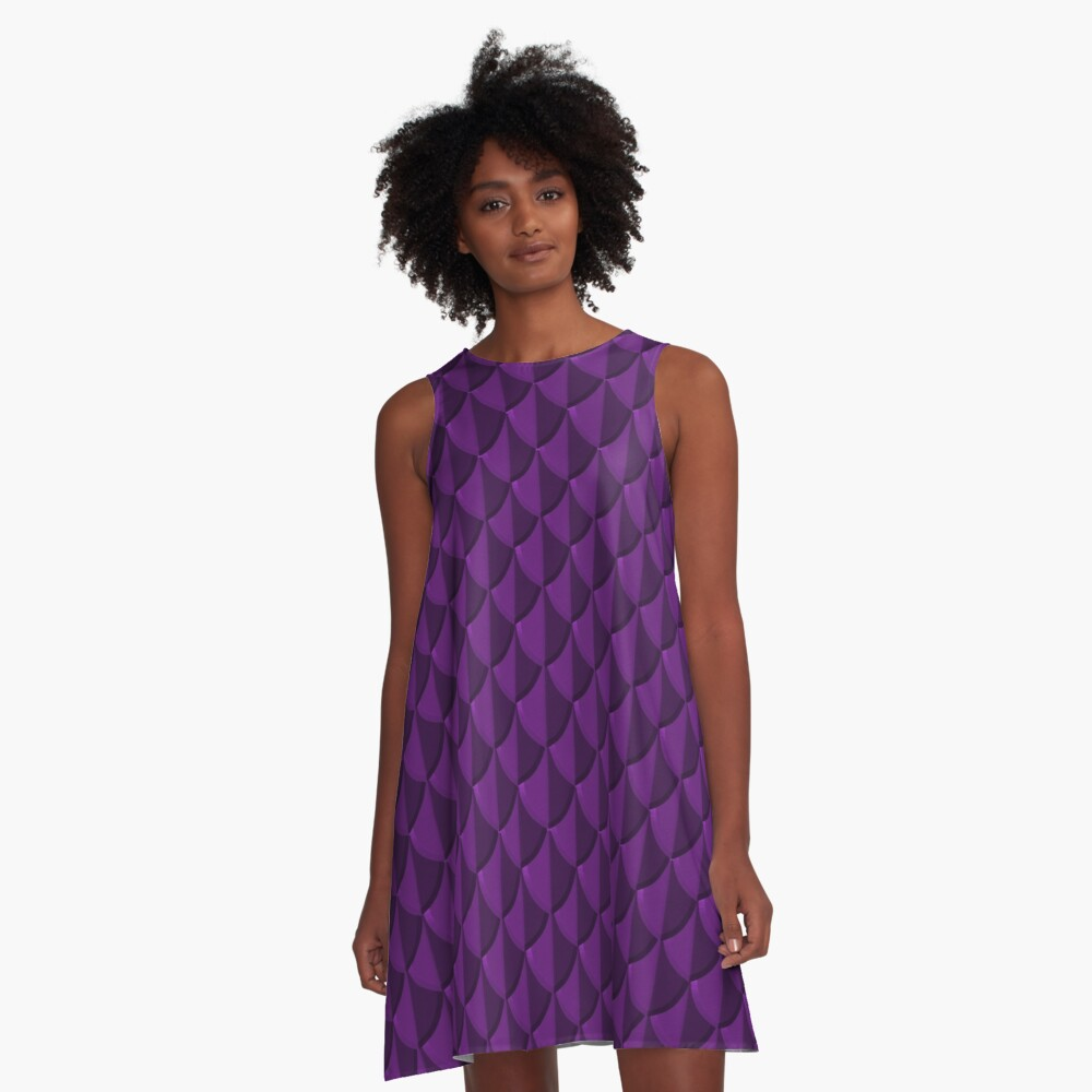 Purple Dragon Scales A-Line Dress Front