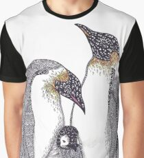 Zentangle Art Emperor Penguin Family Graphic T-Shirt