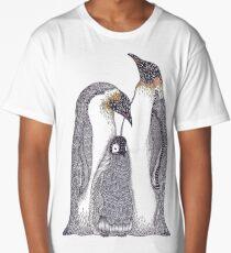 Zentangle Art Emperor Penguin Family Long T-Shirt