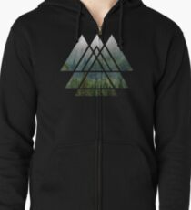 Heilige Geometrie-Dreiecke - Misty Forest Kapuzenjacke