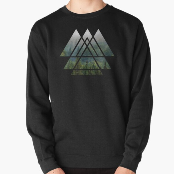 Sacred Geometry Triangles - Misty Forest Pullover Sweatshirt