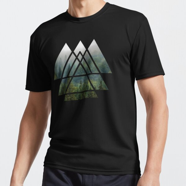Sacred Geometry Triangles - Misty Forest Active T-Shirt